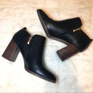 Franco Sarto Leather Booties Block Heel Black 10